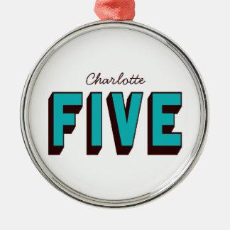 Bright Blue Funky Five Ornament (Premium Circle)