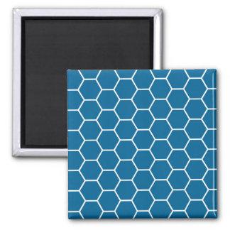 Bright Blue Geometric Honeycomb Hexagon Pattern Refrigerator Magnets