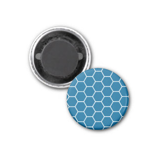 Bright Blue Geometric Honeycomb Hexagon Pattern Magnets
