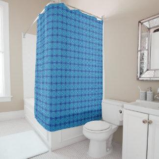 Bright Blue Geometric Pattern Shower Curtain