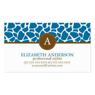 Bright Blue Giraffe Pattern Monogram Pack Of Standard Business Cards