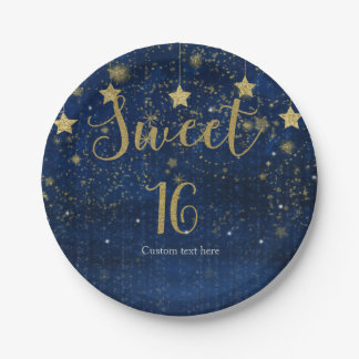 Bright Blue & Gold Starry Sweet 16 Party Paper Plate