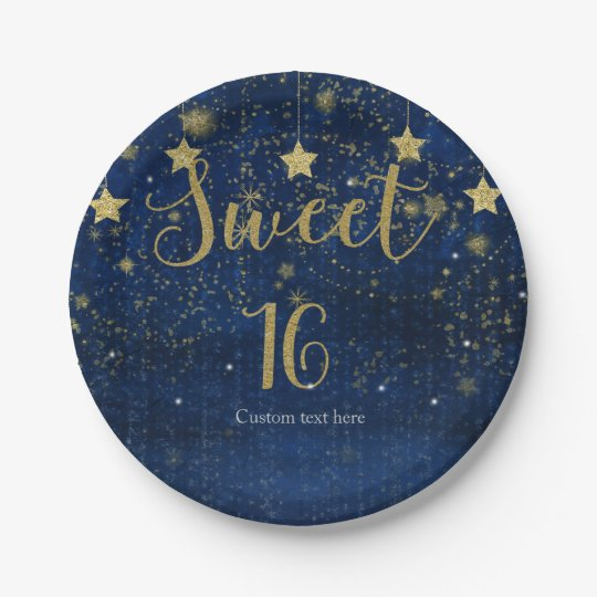 Bright Blue & Gold Starry Sweet 16 Party