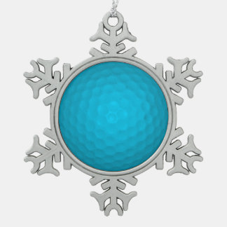 Bright Blue Golf Ball Pewter Snowflake Decoration