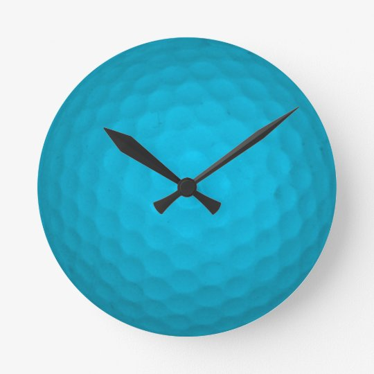 Bright Blue Golf Ball Wall Clocks