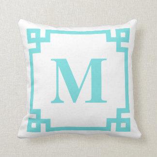 Bright Blue Greek Key Border Monogram Throw Pillow
