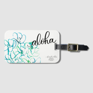 Bright Blue Green Aloha Orchid Flower Luggage Tag