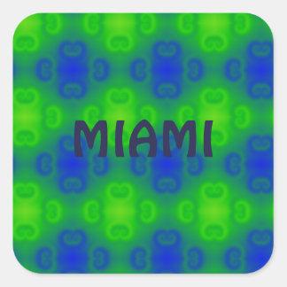 Bright Blue Green Retro Abstract Square Stickers