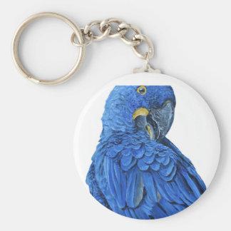 Bright blue Hyacinth Macaw Basic Round Button Key Ring