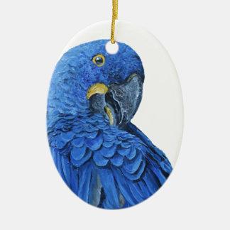 Bright blue Hyacinth Macaw Ceramic Oval Decoration