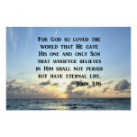 BRIGHT BLUE JOHN 3:16 OCEAN PHOTO DESIGN POSTER