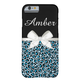 Bright Blue Leopard Print and Ribbon Barely There iPhone 6 Case
