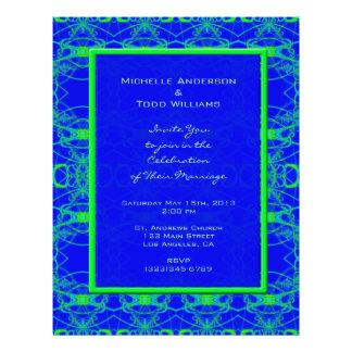 Bright blue Lime Green Pattern Wedding Custom Flyer