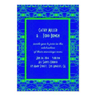 "Bright blue Lime Green Pattern Wedding 5"" X 7"" Invitation Card"