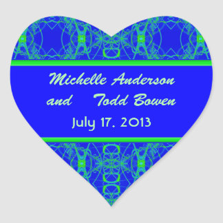 Bright blue Lime Green Pattern Wedding Heart Sticker