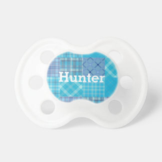 Bright Blue Madras Plaid Personalized Boys Name Baby Pacifier
