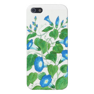 Bright Blue Morning Glory Flowers on White iPhone 5 Cover