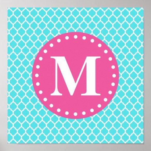 Bright Blue Moroccan Lattice Pink Monogram Poster