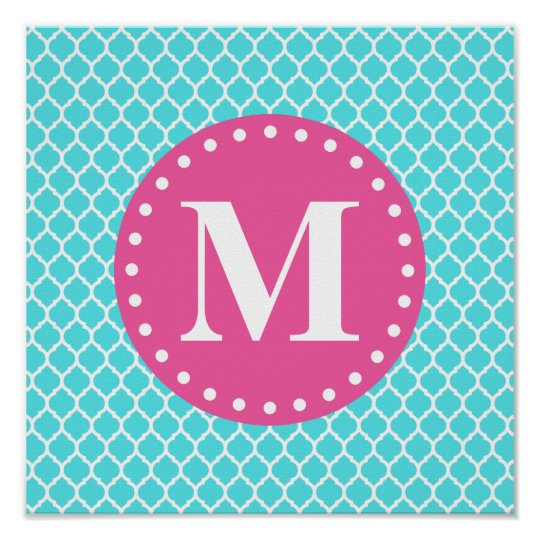 Bright Blue Moroccan Lattice Pink Monogram Poster