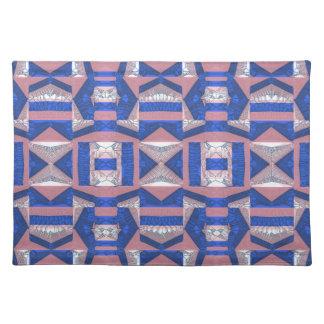 Bright Blue Mosaic Pattern Cotton Placemat Cloth Place Mat