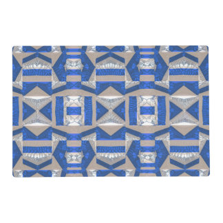 Bright Blue Mosaic Pattern Laminated Placemat