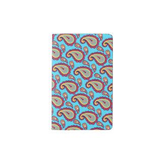 Bright Blue Orange Paisley Pattern Pocket Moleskine Notebook