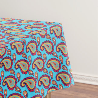 Bright Blue Orange Paisley Pattern Tablecloth