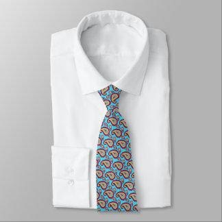 Bright Blue Orange Paisley Pattern Tie