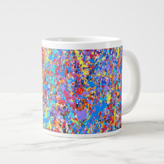 Bright Blue Paint Splatter Abstract Large Coffee Mug