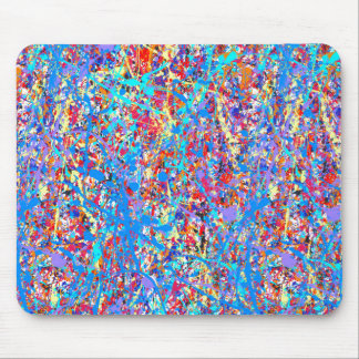 Bright Blue Paint Splatter Abstract Mouse Pad