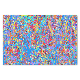 Bright Blue Paint Splatter Abstract Tissue Paper