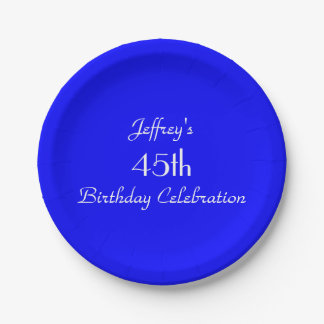 Bright Blue Paper Plates, 45th Birthday Party 7 Inch Paper Plate