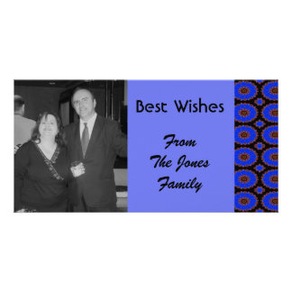 bright blue pattern customized photo card