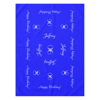 Bright Blue Personalized 90th Birthday Table Cloth