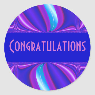 bright blue pink Congratulations Round Sticker