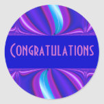 bright blue pink Congratulations Round Stickers