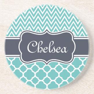 Bright Blue Quatrefoil Chevron Patterns Navy Name Coaster