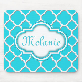 Bright Blue Quatrefoil Trellis Pattern Mouse Mat