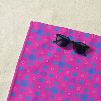 Bright Blue Quirky Polka Dots on Magenta Beach Towel