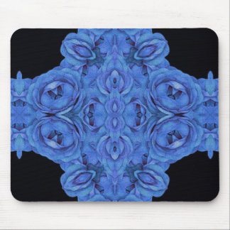Bright Blue Roses Black Mouse Pad