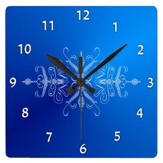 Bright Blue Scrollwork Wall Clock