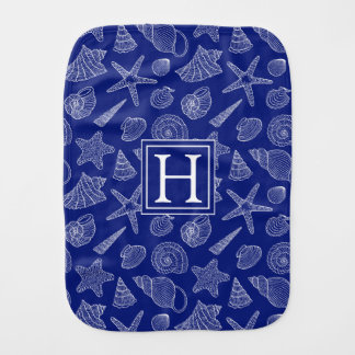 Bright Blue Shell Pattern | Add Your Initial Burp Cloth