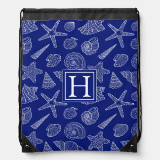 Bright Blue Shell Pattern | Add Your Initial Drawstring Bag