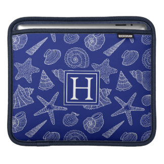 Bright Blue Shell Pattern | Add Your Initial iPad Sleeve