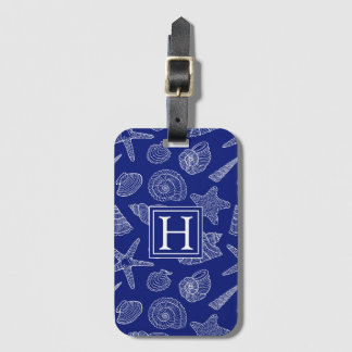 Bright Blue Shell Pattern | Add Your Initial Luggage Tag