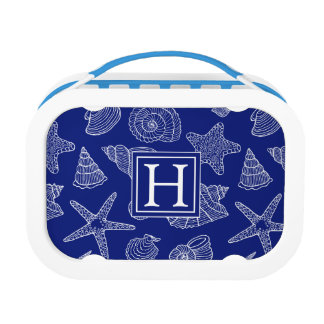 Bright Blue Shell Pattern | Add Your Initial Lunch Box
