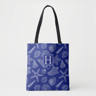Bright Blue Shell Pattern | Add Your Initial Tote Bag