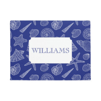 Bright Blue Shell Pattern | Add Your Name Doormat