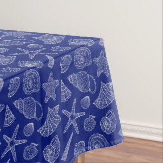 Bright Blue Shell Pattern Tablecloth