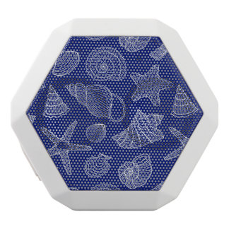 Bright Blue Shell Pattern White Bluetooth Speaker